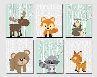 Woodland Nursery, Woodland Wall Decor Kids, Mint, Gray, Girl Nursery Wall Art, Kids Wall Art, Fox, Deer, Damask, Set of 6 Prints or Canvas