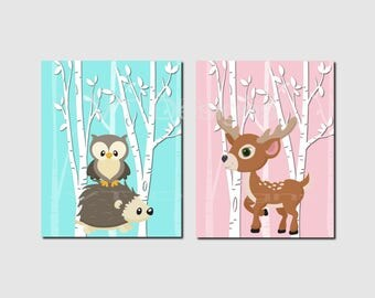 Woodland Animals Wall Art, Pink, Aqua, Woodland Nursery Decor, Forest Animals, Girl Nursery, Toddlers Room Decor, Set of 2, Prints or Canvas