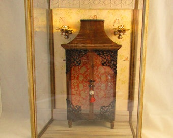 From *DJD* 12th scale unique, illuminated chinoiserie style shadowbox/room box.Available separately-Chinese style display cupboard.