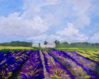 French Art Wall Art Home Decor Modern Impressionist Original Oil Lavender Field French Landscape Painting by Rebecca Croft