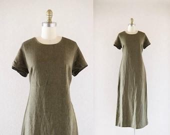 ON SALE olive linen market dress