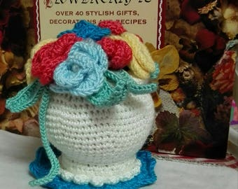 Small crochet flower bouquet with crochet vase and doily