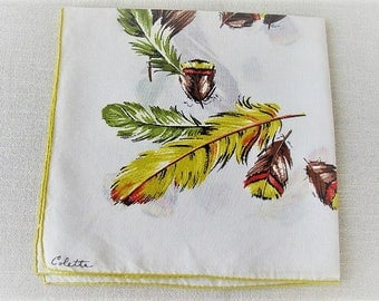 Vintage Ladies Handkerchief, Autumn Colette Ladies Cotton Linen Hankie with Feathers and Acorns, Vintage Tea Napkin, ECS, FREE Shipping