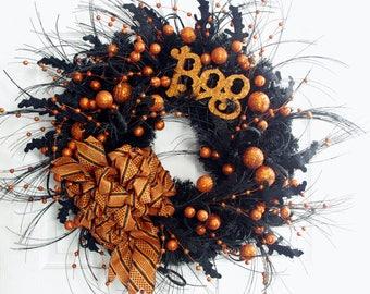 Halloween Wreath, Boo Wreath, Orange and Black Wreath, Halloween Decor, Front Door Wreath, Halloween Front Door Wreath