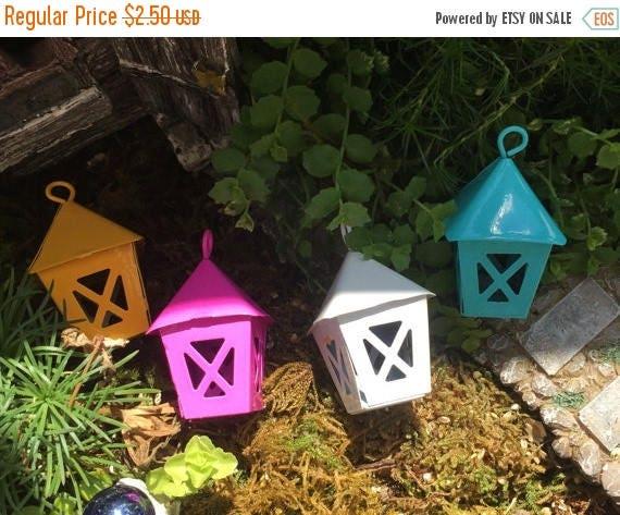 SALE Miniature Blue Metal Lantern, Fairy Garden Accessory, Miniature Gardening, Home and Garden Decor, Topper, Crafting
