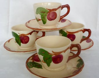 Vintage Franciscan Apple Cups and Saucers  Hand Painted  Four Sets