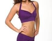 Purple Sleepwear Lingerie- Retro Sleep Crop Top- Discontinued Color