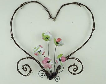 Barbed Wire Heart With White, Pink and Green Forever Blooming Flowers Free Shipping In the USA