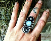 Ancient Moon - Rainbow Moonstone Sterling Silver Runic Ring with Labradorite Planet - Size 8 - Handcrafted - Boho - Witchy - Space - Stars
