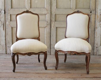 Pair of 19th Century Carved Walnut and Upholstered Side Chairs