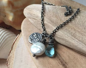Dainty Sterling dragonfly necklace - Pearl and blue Quartz pendant - beach necklace - June birthstone
