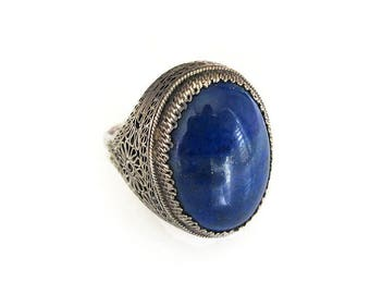 Chinese Export Silver Lapis Ring - Chinese Silver, Lapis Stone, Sterling Filigree, Vintage Ring, Vintage Jewelry, Size 7