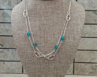 Long Sterling Silver Necklace with Sterling Knuckle Links and Three Shades of Turquoise Swarovski Crystals