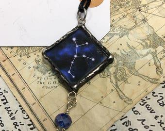 Virgo Constellation Pendant with Crystal Bead Drop