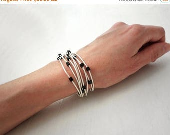 Summer Sale Leather wrap bracelet white leather bracelet black glass cubes minimalist wrap bracelet for women