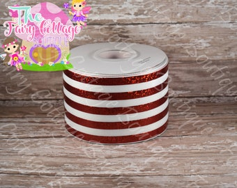 Red Foil and White Stripes on 3 inch Wide Ribbon