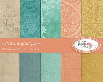 50%OFF Artistic digital papers, digital scrapbook paper, shabby vintage papers, commercial use, instant download, P275