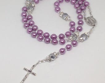 Catholic Rosary Purple With Crystal Beads