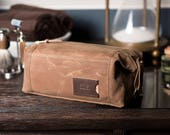 Waxed Canvas Dopp Kit: Personalized, Expandable, Hanging Toiletry Bag, Travel, Brown - No. 349 (Made in the USA) FREE Domestic SHIPPING
