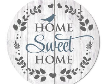 Home Sweet Home Round Barnwood Sign 16 Inches