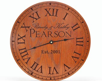 Personalized Clock Carved Engraved  Wood 3 Sizes Available by MRC Wood Products