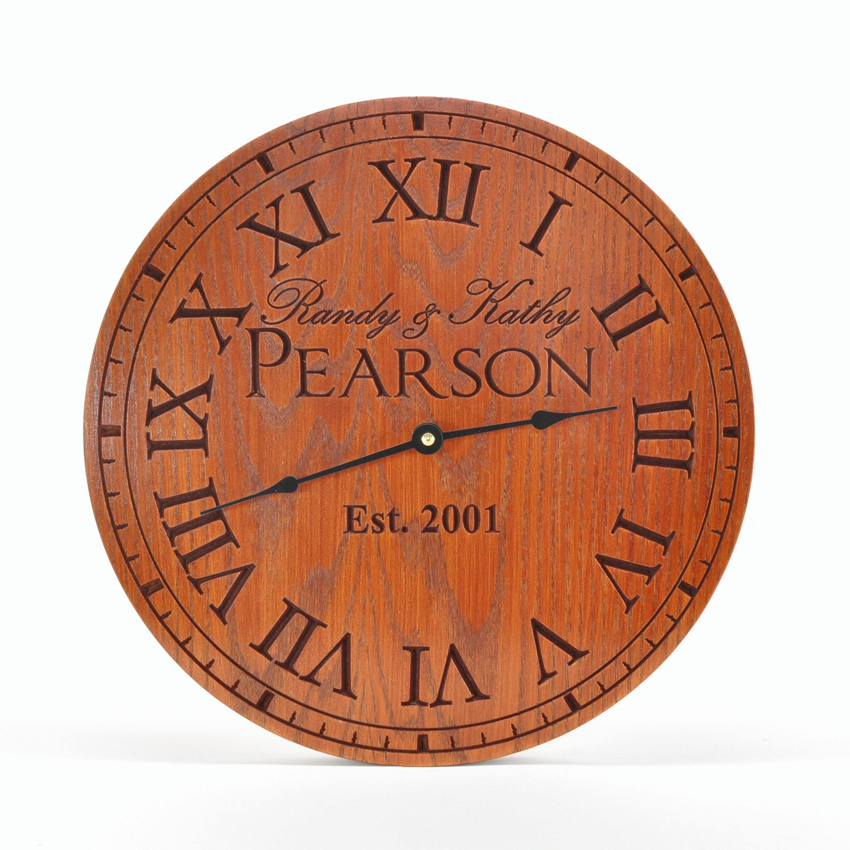 personalized clock carved engraved wood 3 sizes available by