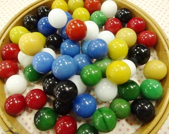 Vintage Old Colorful Chinese Checkers Board Game Set Glass Toy Marbles 60 EA Lot