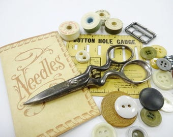 Needful Notions Vintage Button Hole Adjustable Scissors Old Sewing Supplies Lot