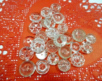 Beautiful  Mix Crystal Clear Glass Sewing Buttons Collection of (25) Each Small Baby Doll Sew Through Style Vintage Embellishments