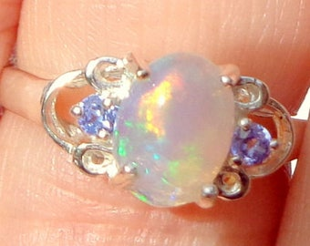 sz 6, Welo Opal Ring, Ethiopian Opal, Sterling Silver, Semi-Transparent, Natural Gemstone,Color Play Stone, Peach,Yellow,Green,Blue, OOAK