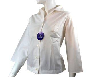 Deadstock Vintage 50s 60s Crisp White Ladies Shirt Blouse, Bracelet Sleeves,  Tags Attached Size medium