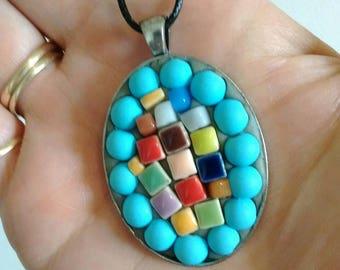 Mosaic jewelry - pendant - colorful art - glass art pendant - jewelry gift - mosaic art gift + mosaic art - necklace - mosaic pendant chain