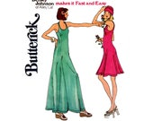 Butterick 3718 BETSEY JOHNSON Womens Stretch Sundress or Maxi Dress & Hat 70s Vintage Sewing Pattern Size 10 Bust 32 1/2 inches