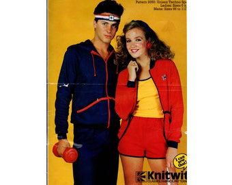 80s Stretch Short Shorts Hooded Zip Front Top Pattern Knitwit 9350 Retro Unisex Tracksuit Jogging Suit Pattern All Sizes UNCUT