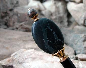Deep Green Stone Hair Stick Marbled Oval Gemstone Kanzashi Hair Pins Geisha Hairstick Hair Chopsticks Hair Pic Hair Sticks Haarstab - Nailah