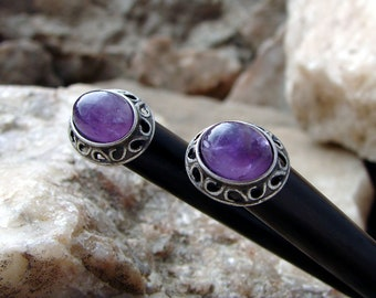 Set of Two Amethyst Hair Sticks Pair of Purple Gemstone Minimalist Hair Stick on Bone with Silver Plate Hairstick Sets Pairs - Amatista 3367