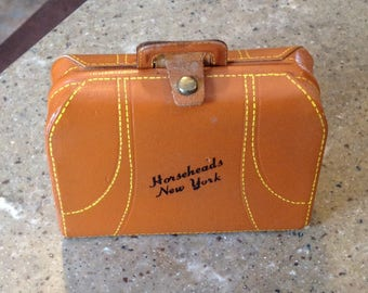 Vintage Leather Horseheads New York Souvenir Suitcase Luggage Doll Jewelery Case