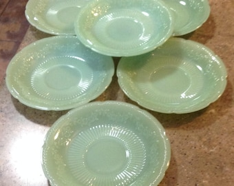 Vintage Fire King Jadeite Alice Glass Coffee Cup Saucer Set of 6