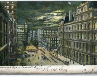 Government Square at Night Cincinnati Ohio 1906 glitter highlights postcard