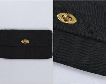 1940s Vintage Corde Clutch Purse / 40s Handbag / Evening Bag / Black Cord Faille
