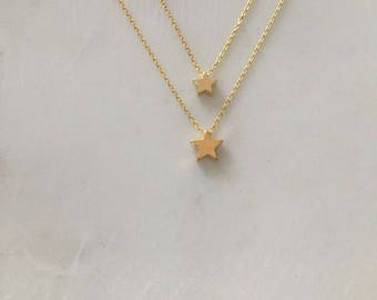 Star Necklace Gift Set - Small and Large Star Necklace Gift Set - Mother & Daughter Gift Set - Gold