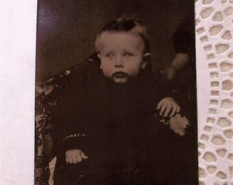 Tintype Baby w/ Button Eyes