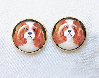 Blenheim Cavalier King Charles Gold Post Earrings ~ Dog Paintings ~ June Birthday ~ GOLD earrings ~ Pet Loss Gift ~ Gifts Under 10