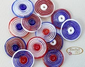 Blue, White and Red Glass Disc Beads, FREE SHIPPING,Set of Handmade Lampwork Spiral Beads - Rachelcartglass