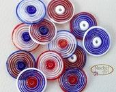 Blue, White and Red Glass Disc Beads, FREE SHIPPING,Set of Handmade Lampwork Spiral Beads - Rachelcartglass