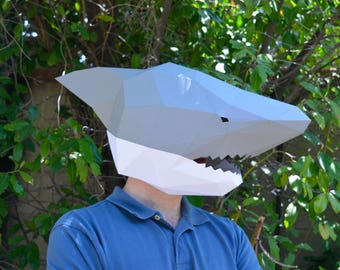 Shark Mask - Papercraft Template Instant Download | Masquerade Mask | Halloween Mask | Paper Mask | DIY Mask