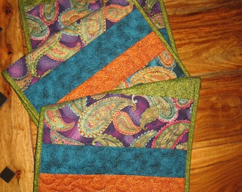 Quilted Table Runner, Paisley Jewel Tones in Purple, Turquoise, Orange, Gold, Reversible Runner, Elegant Runner, Handmade Free Shipping