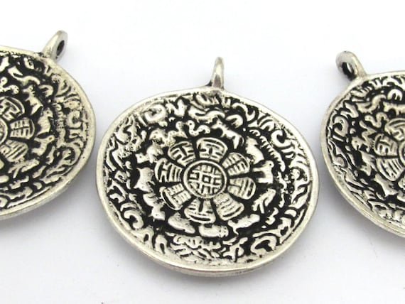 3 pendants -  42 mm Tibetan silver plated Om with calendar timeline wheel pendant and reverse side double dorje - CP111s