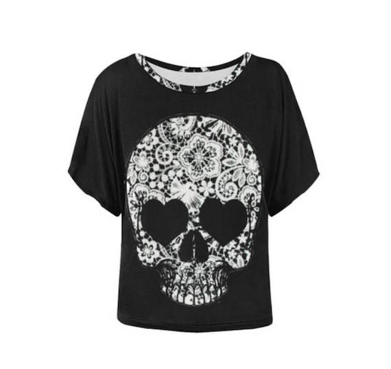 Lace Skull Bat Wing Shirt