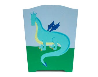Wooden Waste Basket - Custom Hand Painted Children's Wood Garbage or Trash Can - Dragon - Castles and Dragons or Any Kid's Theme